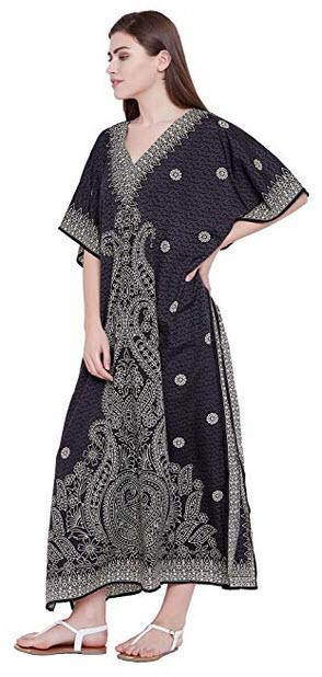 Goood Times Black Paisley Long Kaftan Kimono Maxi Dress Plus Size Caftan Gown Nightdress Kimono  ...