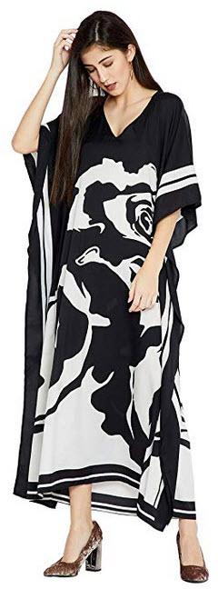 Goood Times Black & White Floral Long Kaftan Kimono Maxi Dress Plus Size Caftan Gown Nightdr ...