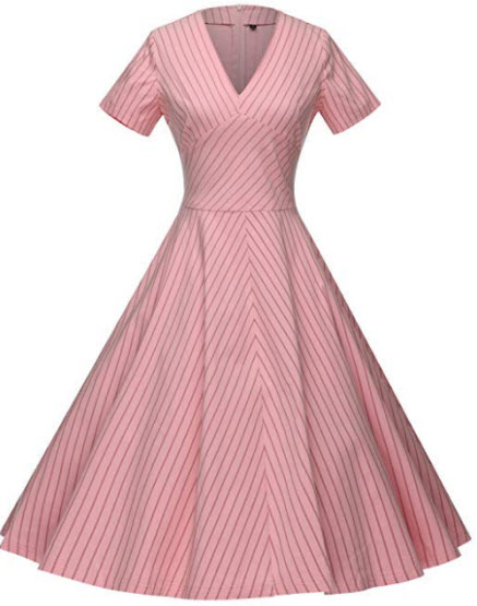 GownTown Women's 50s V-Neck Vintage Cocktail Party Swing Dress, pink