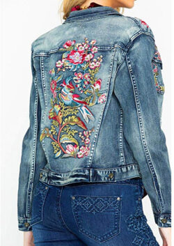Grace in LA Women's in Floral Embroidered Denim Jacket, indigo