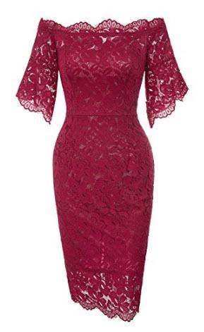 GRACE KARIN Women's Vintage Floral Lace Off Shoulder Short Sleeve Pencil Dress, wine