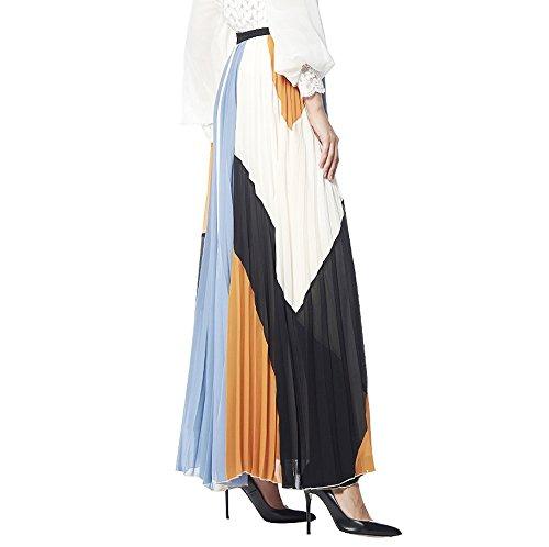 Gracia Color Block Pleated Maxi Skirt