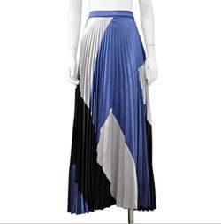 Gracia Shiny Colorblock Pleated Maxi Skirt