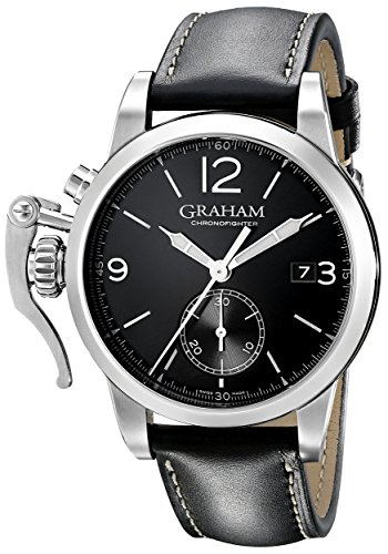 Graham Men's 2CXAS.B02A Chronofighter Stainless Steel Watch with Black Leather Band
