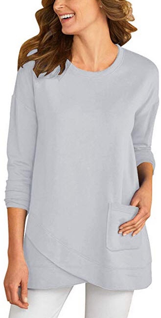 GRAPENT Womens Long Sleeve Solid Tulip Hem Pocket Tunic Top Shirt Blouse Tee gray