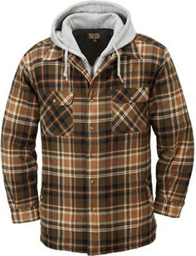 Gravel Gear Sherpa Lined Hooded Flannel Shirt Jacket, tan