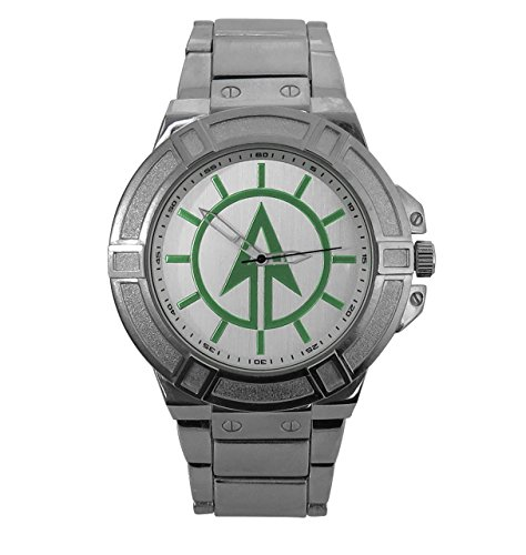 Green Arrow Logo Watch With Metal Bandby SuperHeroStuff