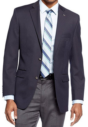Greg Norman for Tasso Elba Navy Solid Wool Blend Two Button New Men's Sport Coat.