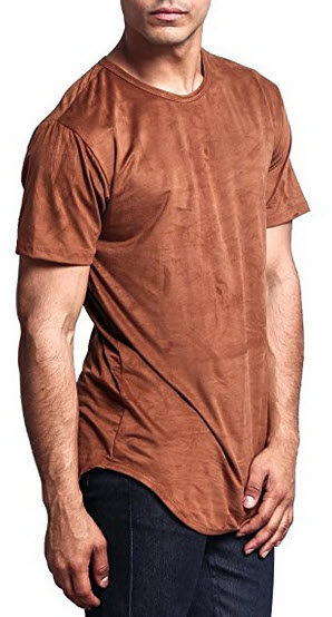 G-Style USA Curved Hem Extended Length Poly Suede T-Shirt – G16C .