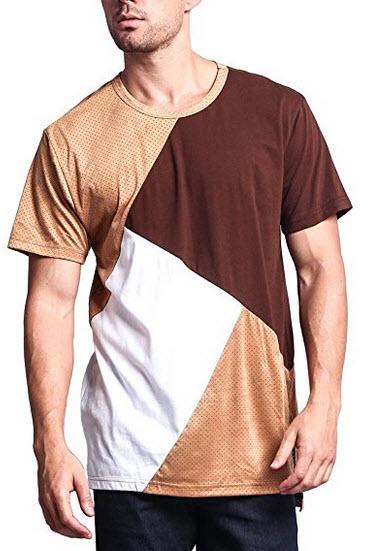 G-Style USA Diagonal Colorblock Poly Suede Mesh Long Length T-Shirt .