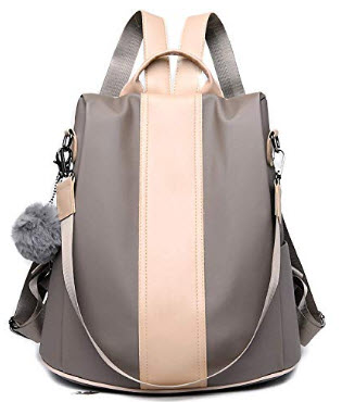 GuaziV Women Waterproof Nylon Anti-theft Fashion Bag Lightweight School Shoulder Bags, khaki