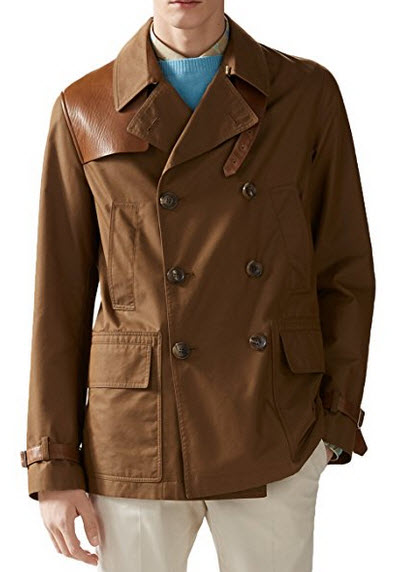 Gucci Men's Light Brown Washed Gabardine Leather Detail Heritage Trench Coat Jacket