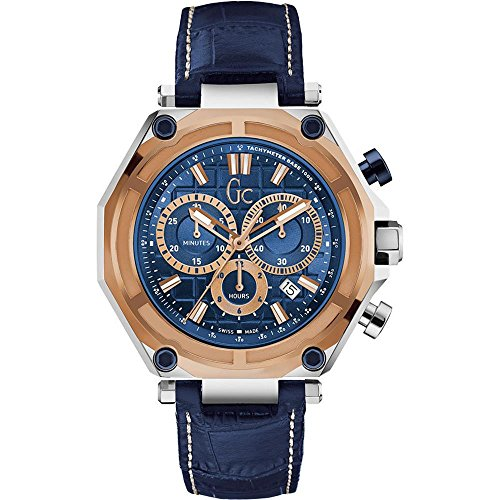 Guess Collection Men's Gc-3 Sport 44.5mm Blue Leather Band Steel Case Quartz Analog Watch  ...