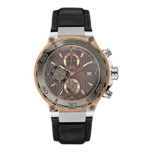Guess Collection Men's Bold Black Leather Band Steel Case Quartz Brown Dial Analog Watch X ...