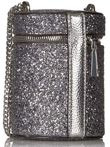 GUESS Ever After Metal Cylinder Crossbody, silver