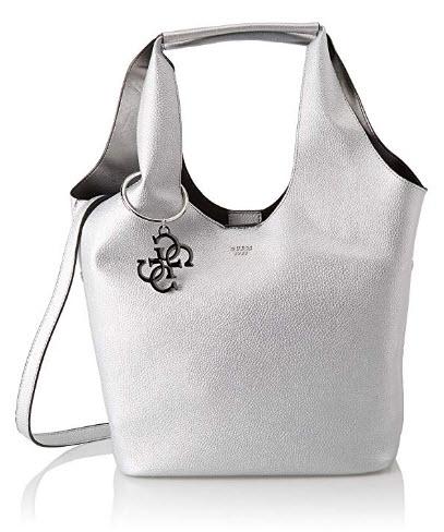 Guess Flora, Women's Shoulder Bag, Silver (Silver Sil), 45x31x16.5 cm (W x H L)