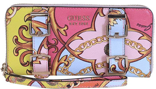GUESS Jori Printed Large Zip Around Wallet, coral multi