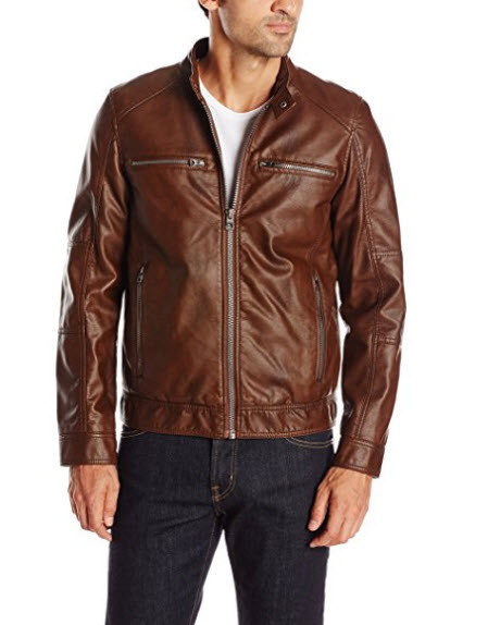 GUESS Men's Faux Leather Hooded Moto Jacket.