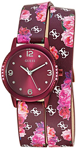 GUESS Women's Stainless Steel Floral Wrap Casual Watch, Color: Rosewood (Model: U1010L3)