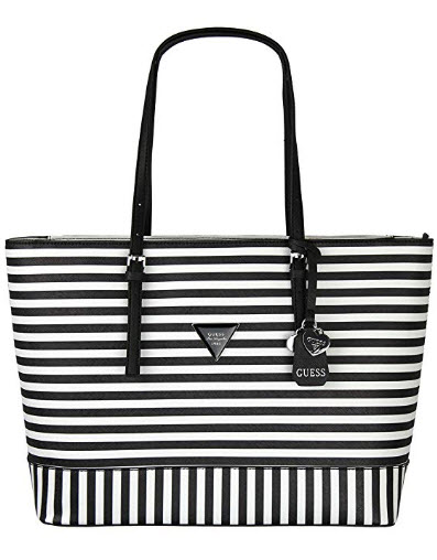 Guess Womens Saffiano Leather Balina Shopper Shoulder Tote Handbag – Black &White Stri ...