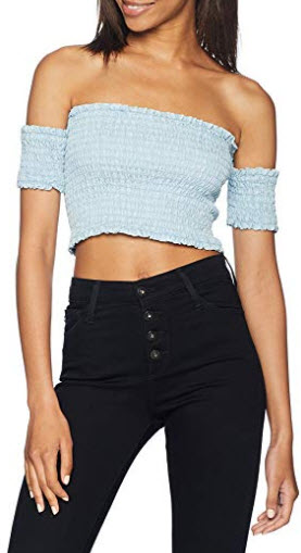 GUESS Women's Tencel Smocking Top, super bleached wash