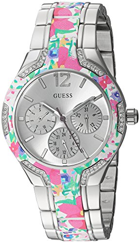 GUESS Women's U0556L11 Sporty Silver-Tone Watch with Silver Dial and Floral Print Center L ...