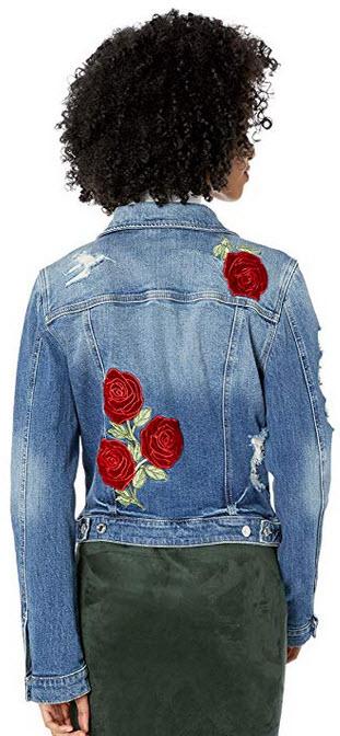 Guess Women's Velvet Rose Sexy Trucker Jacket waverly wash