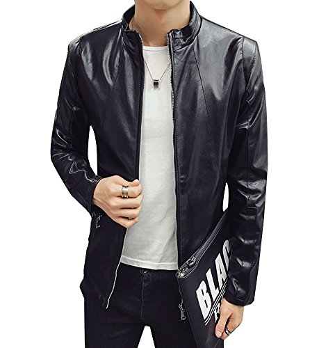 Guiran Men PU Leather Zip Up Biker Jacket Slim Faux Leather Blazers Short Jacket Outwear