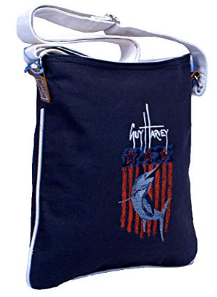 Guy Harvey Cross body with Embroidered Blue Marlin and American Flag
