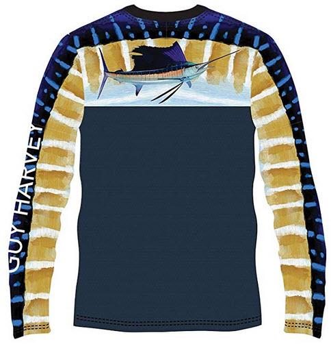 Guy Harvey Men's Del Mar Long Sleeve Performance Shirt navy