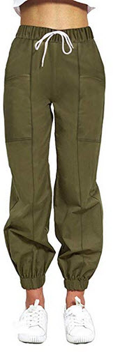 guyueqiqin Womens Cargo Pants, Casual Outdoor Solid Color Elastic High Waisted Baggy Jogger Work ...