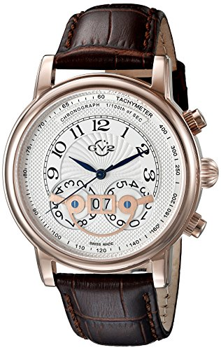 GV2 by Gevril Men's 8103 Montreux Stainless Steel Watch With Brown Leather Band