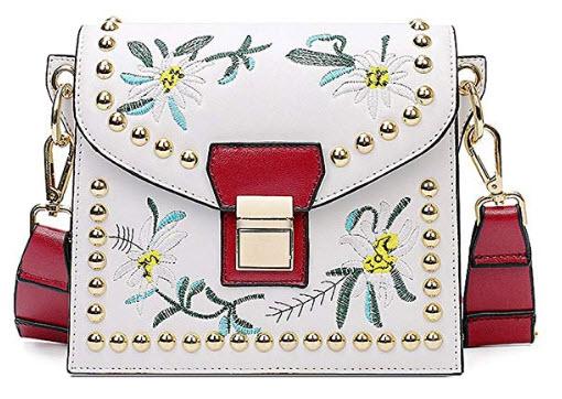 GWELL Women PU Leather Cross-body Bag Embroidered Shoulder Bag Tote Bag Handbag white