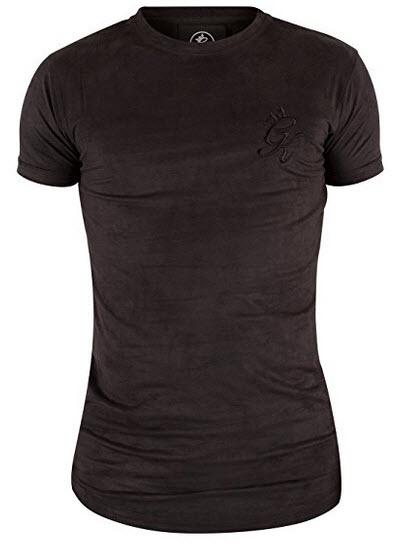 Gym King Men's Suede Long Line Curved Hem Logo T-Shirt, Black.