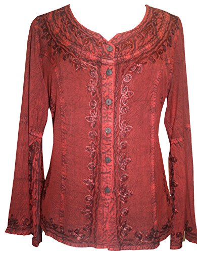 Gypsy Medieval Embroidered Gothic Peasant Top Bell Sleeve Blouse by Agan Traders