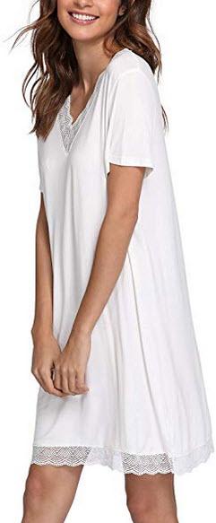 GYS Women's Laced V Neck Sleepshirt Short Sleeve Nightgown white