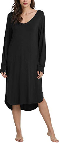GYS Women's Long Sleeve Nightgown V Neck Sleep Shirt, black