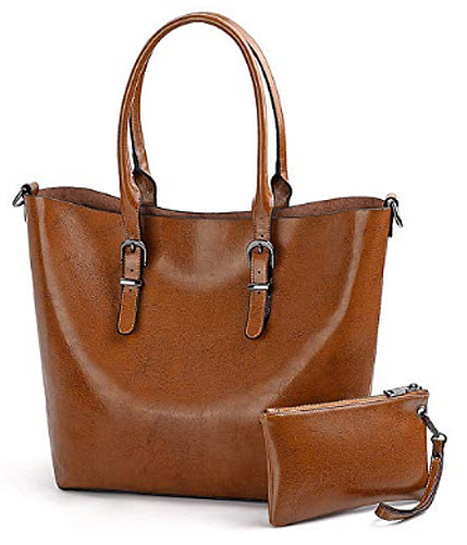 Gywon Women's Leather Top Handle Handbag Purse Tote Hobo Shoulder Bag with Small Wallet fo ...