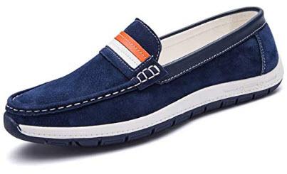 Habitaen Men Casual Suede Loafers Black Solid Leather Driving Moccasins Slip On Men Formal Loafe ...