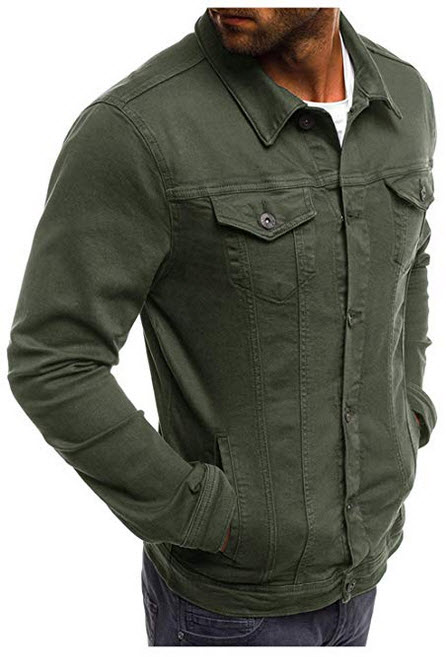 Hakjay Mens Unlined Cotton Jacket Slim Fit Coat Long Sleeve Outerwear army green