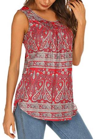 Halife Women's Paisley Printed Pleated Sleeveless Blouse Shirt Casual Flare Tunic Tank Top ...