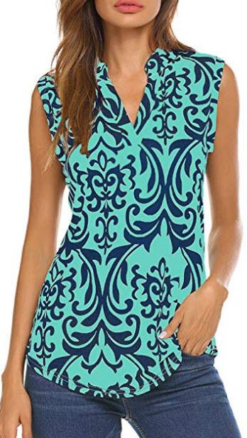 Halife Women's Sleeveless Floral Print V Neck Henley Tank Tops Blouse Shirts Tunic, green