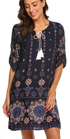 Halife Women's Vintage Ethnic Style Printed Tassel Tie Neck Loose Fit Bohemian Tunic Dress ...