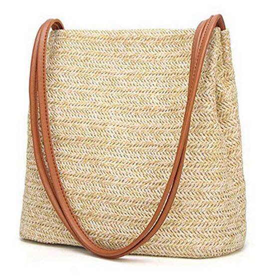HaloVa Womens Handbag, Fashion Beautiful Straw Woven Tote, Large Summer Beach Shoulder Bag brown ...