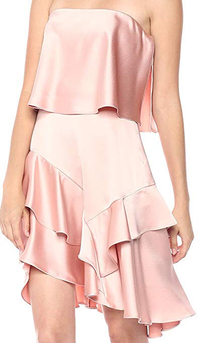 Halston Heritage Women's Strapless Flounce Skirt Satin Dress blush