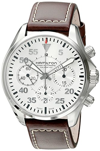 Hamilton Men's H64666555 Khaki Aviation Stainless Steel Automatic Watch with Brown Leather ...
