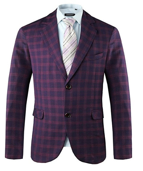 Hanayome Mens Exclusive Pueple Plaid Casual Two Button Sport Coat Blazer SI13.