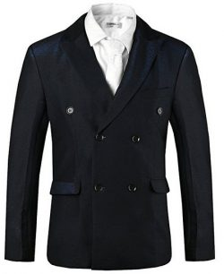 Hanayome Vintage Pure Color Double Breasted 4 Buttons Suit Blazer Jacket SI45.