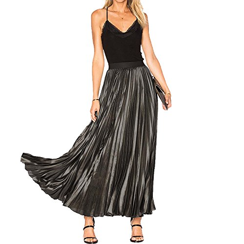HaoDuoYi Womens Metallic High Waist Solid Maxi Elegant Casual Pleated Skirt