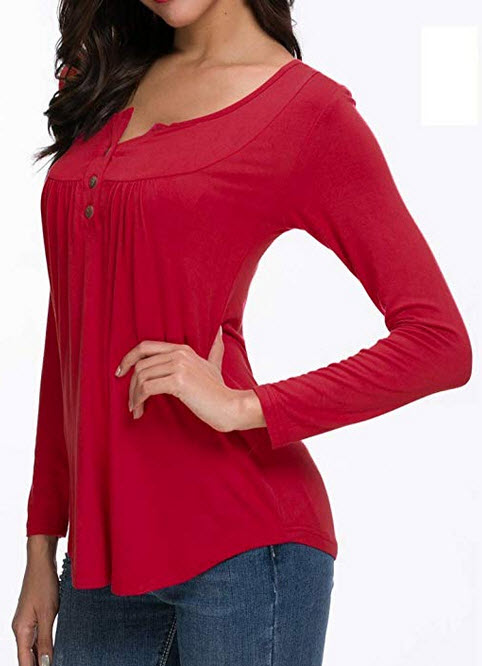HAOMEILI Women's Button up Long Sleeve T-Shirt Casual Blouse Tunic Tops red